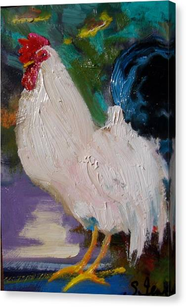 White Rooster Canvas Print by Susan Jenkins