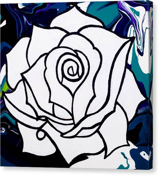 Abstract Flowers Canvas Print - White Rose by Annie Walczyk