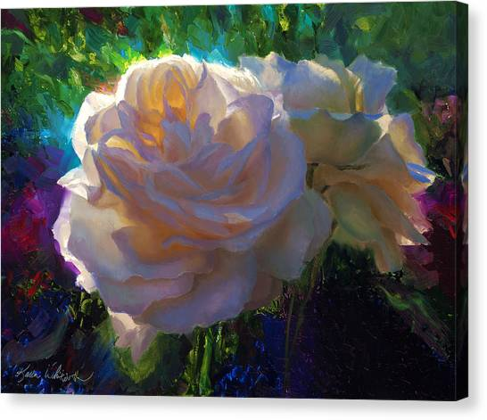 White Roses In The Garden - Backlit Flowers - Summer Rose Canvas Print