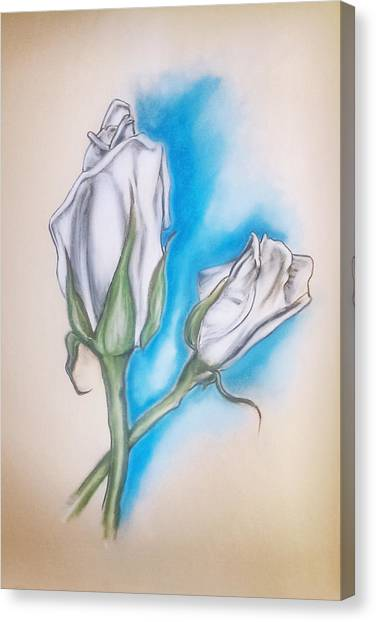Canvas Print featuring the pastel White Roses by Keith A Link