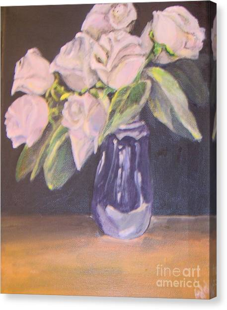 Canvas Print featuring the painting White Roses by Saundra Johnson