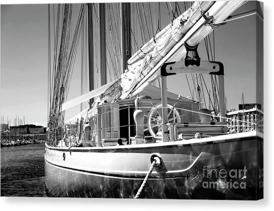 Jibbing Canvas Print - White Sail by John Rizzuto