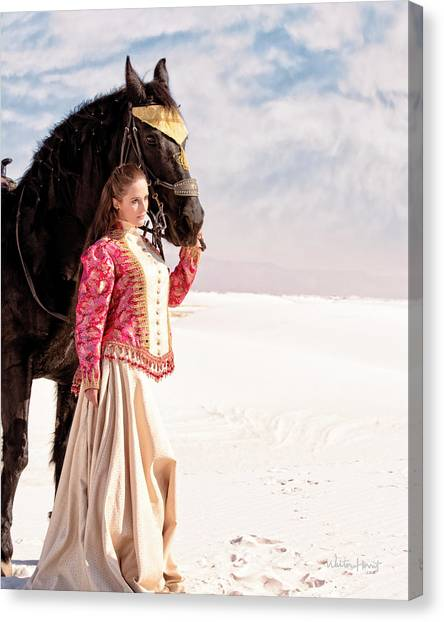 White Sands Horse And Rider #2a Canvas Print