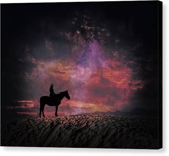 White Sands Horse And Rider #4c Canvas Print