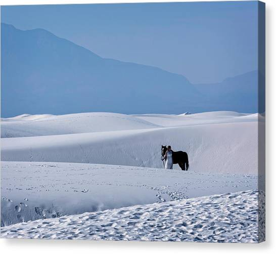 White Sands Horse And Rider #5b Canvas Print