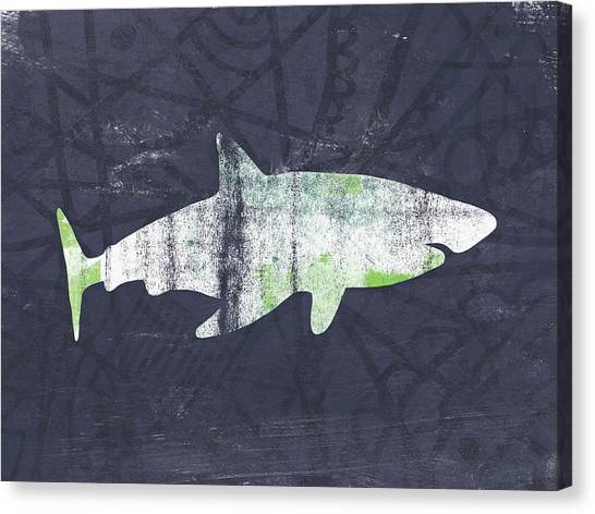 Sharks Canvas Print - White Shark- Art By Linda Woods by Linda Woods