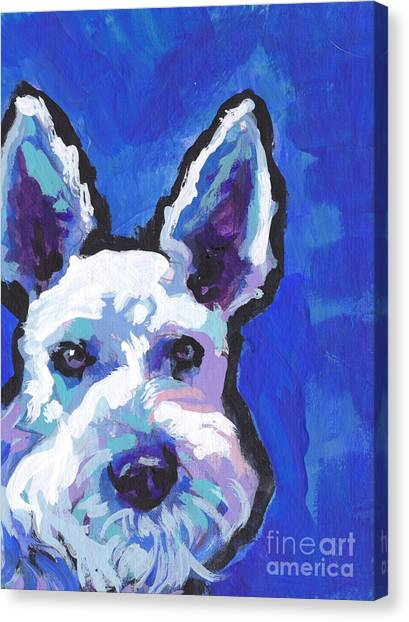 Schnauzers Canvas Print - White Shnauz by Lea S
