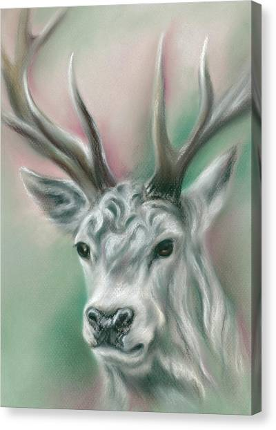 Canvas Print featuring the pastel White Stag by MM Anderson