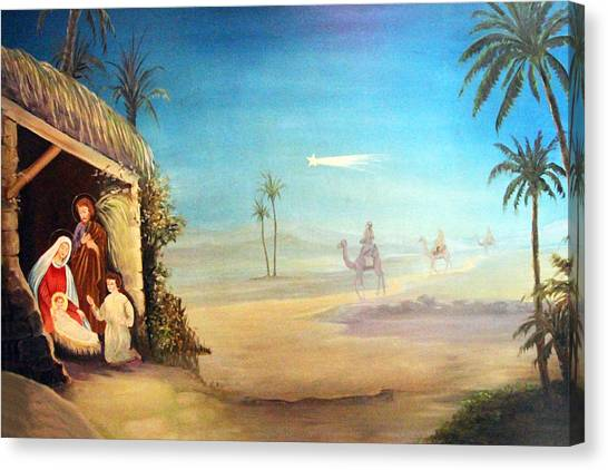 Coptic Art Canvas Print - White Star by Munir Alawi