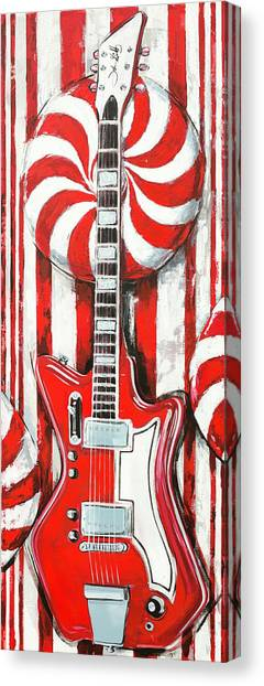 Canvas Print featuring the painting White Stripes Guitar by John Gibbs