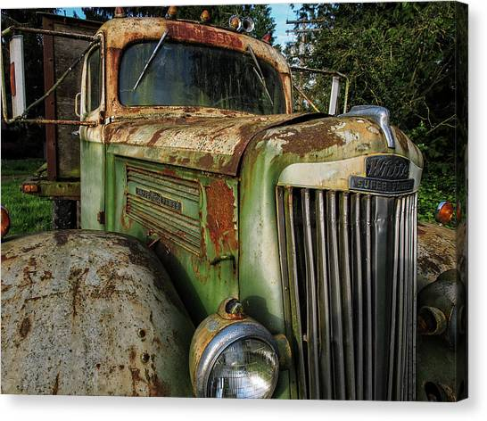 White Super Power Truck Canvas Print