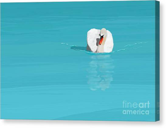 White Swan Blue Lake Canvas Print