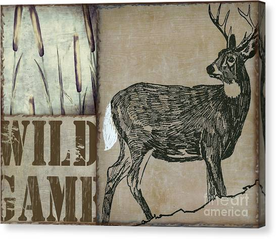 Rustic Canvas Print - White Tail Deer Wild Game Rustic Cabin by Mindy Sommers