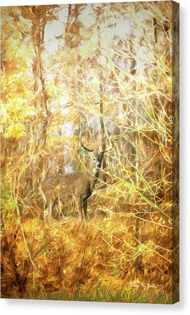 Canvas Print featuring the digital art White-tail Woods by Barry Jones