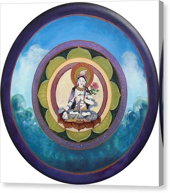 White Tara Mandala Canvas Print by Jo Thompson