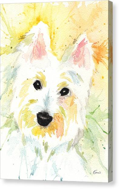 Watercolor Pet Portraits Canvas Print - White Terrier by Kathleen Wong