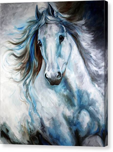White Thunder Arabian Abstract Canvas Print
