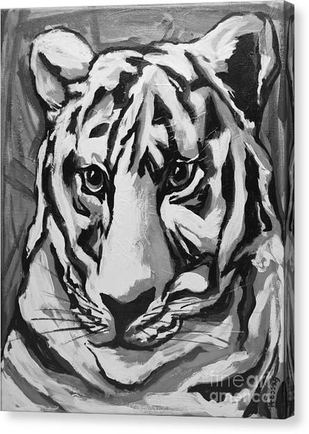 University Of Memphis Canvas Print - White Tiger Not Monochrome by Rebecca Weeks Howard