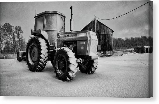 White Tractor Canvas Print
