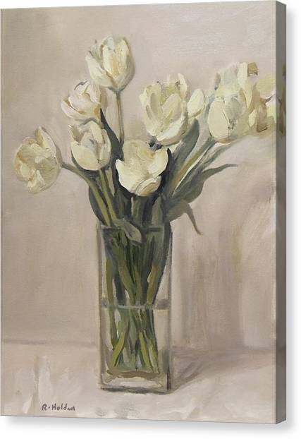 White Tulips In Rectangular Glass Vase Canvas Print