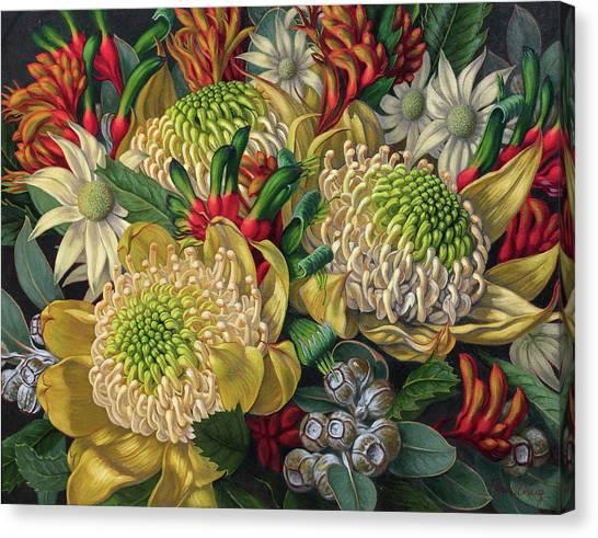 Kangaroo Canvas Print - White Waratahs Flannel Flowers And Kangaroo Paws by Fiona Craig