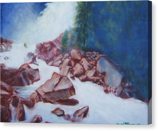 White Water And Solid Rock Canvas Print by Howard Stroman