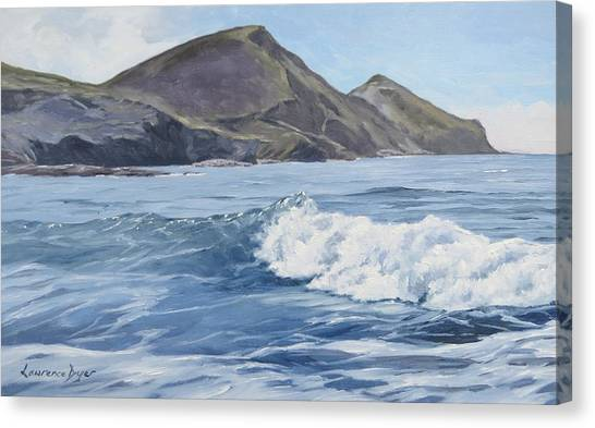 White Wave At Crackington  Canvas Print