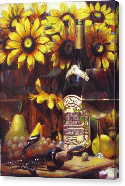 White Wine And Gold Finch With Sun Flower Canvas Print by Takayuki Harada