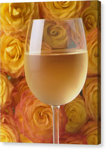 White Wine Canvas Print - White Wine And Yellow Roses by Garry Gay