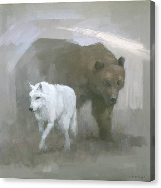 Canvas Print featuring the painting White Wolf, Brown Bear by Steve Mitchell