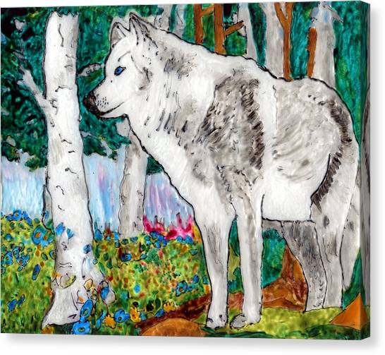 White Wolf In Spring Canvas Print