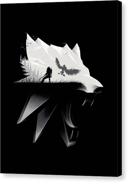 Playstation Canvas Print - White Wolf - Minimalist by Lobito Caulimon