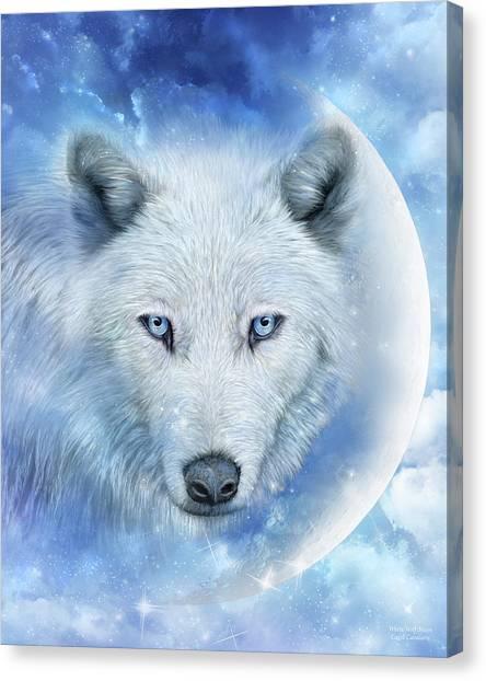 Wolf Moon Canvas Print - White Wolf Moon by Carol Cavalaris
