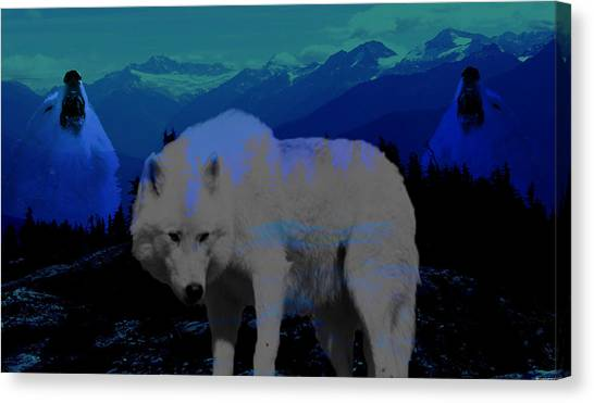 White Wolves Canvas Print by Evelyn Patrick