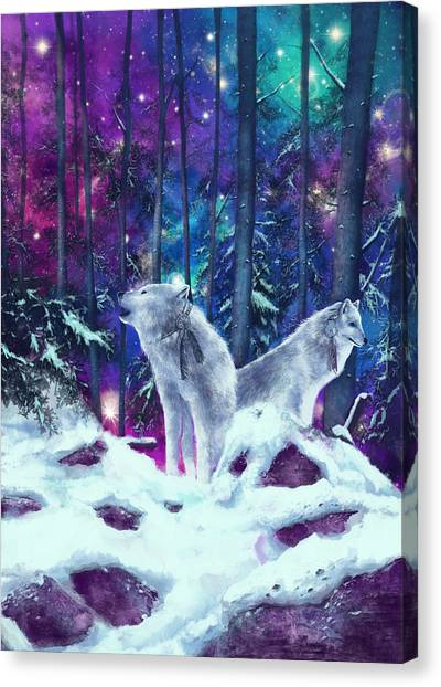 Wolf Moon Canvas Print - White Wolves by Bekim Art