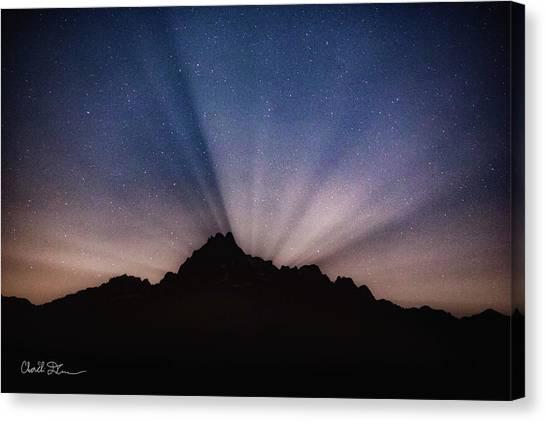 Whitehorse Mountain Moon Rays Canvas Print