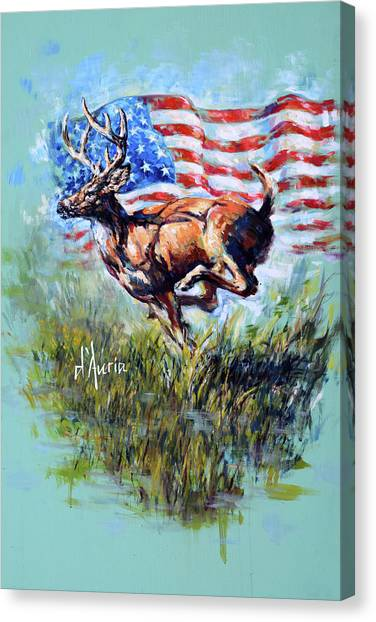 White-tailed Deer Canvas Print - Whitetail Americana by Tom Dauria