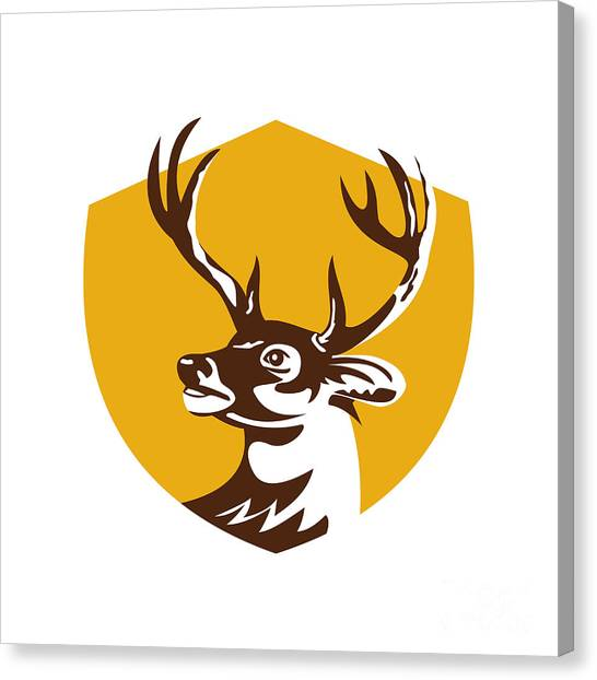 Deer Canvas Print - Whitetail Deer Buck Head Crest Retro by Aloysius Patrimonio
