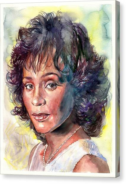 Houston Canvas Print - Whitney Houston Portrait by Suzann's Art
