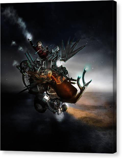 Steampunk Canvas Print - Who Knew What Snails Can Do by Karen Koski
