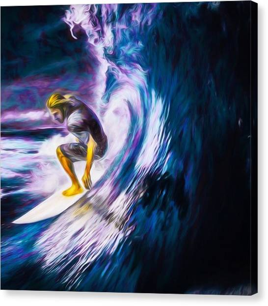 Fish Canvas Print - Who Likes To #surf. #surfing Is #fun by David Haskett II