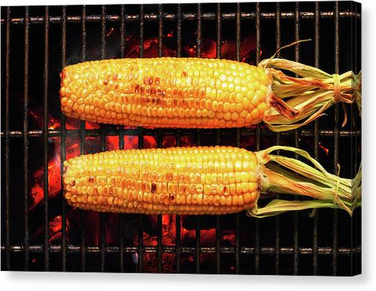 Ears Canvas Print - Whole Corn On Grill by Johan Swanepoel
