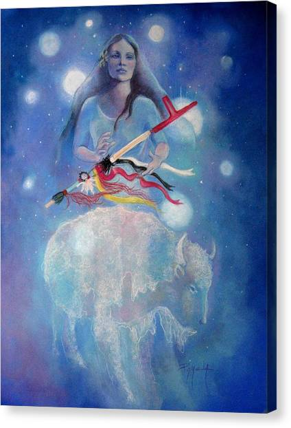 Whtie Buffalo Woman From The Pleiades Canvas Print