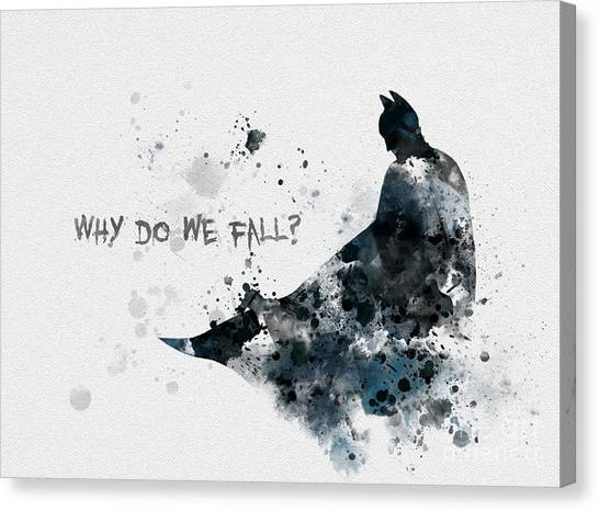 Bat Canvas Print - Why Do We Fall? by Rebecca Jenkins