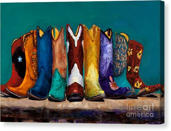 Cowboy Boots Canvas Print - Why Real Men Want To Be Cowboys 2 by Frances Marino