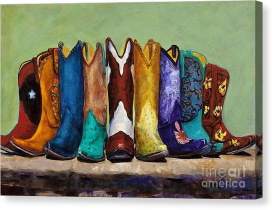 Cowboy Boots Canvas Print - Why Real Men Want To Be Cowboys by Frances Marino
