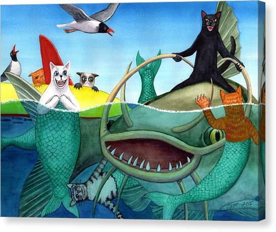 Catfish Canvas Print - Wicked Kitty's Catfish by Catherine G McElroy