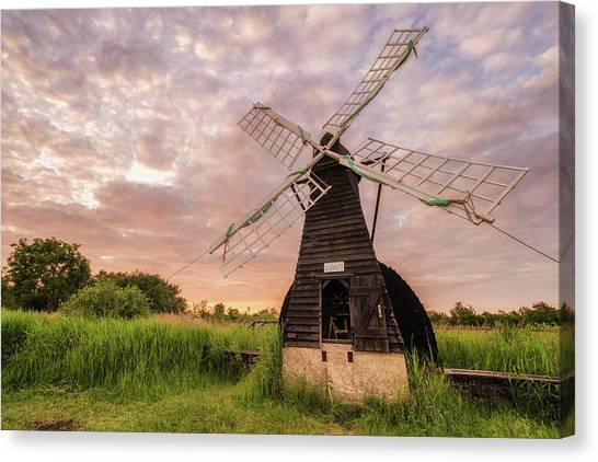 Wicken Wind-pump At Sunset II Canvas Print