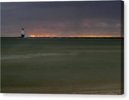 Wide View Of Lighthouse And Sunset Canvas Print
