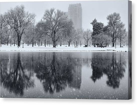 Snowy Reflections Of Trees In Lake At City Park, Denver Co  Canvas Print